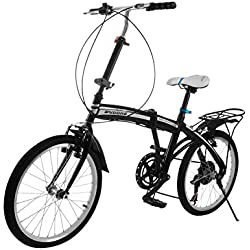 OrangeA Folding Bike 20 Inch Wheel 6 Speed Foldable Bicycle with Steel Frame Shimano Gears Folding Bikes Adjustable for Ages 7 and Up Kids Women Men Adults