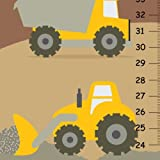Personalized Canvas Height Chart Yellow Construction Trucks Boys Bedroom Wall Art