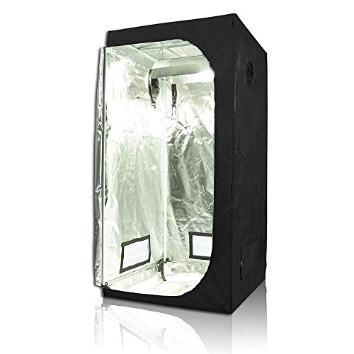 Approx. 32x32x63 Inches Hydroponics 100% Reflective Waterproof Interior Diamond Mylar Grow Tent Cover Non Toxic w/ Large Door & Two-double Vents by Generic