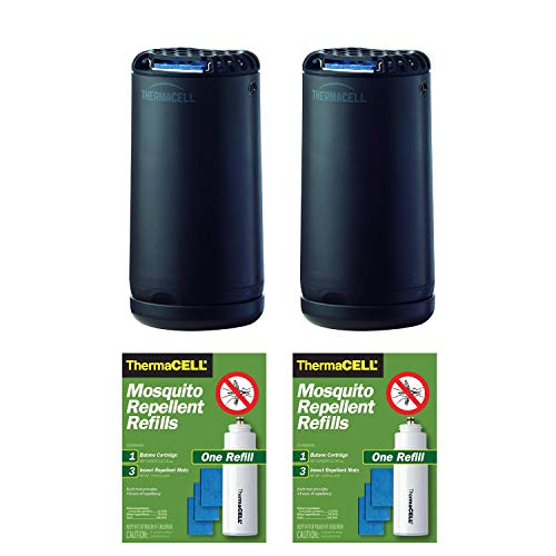 Thermacell Two Patio Shield Mosquito Repellers (Graphite) with Two R1 Refill Packs | No Spray, Scent-Free, Deet-Free, Cordless | Bundle