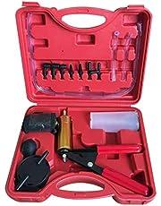 Bomba de vácuo/sangrador de freio com medidor de vácuo Conjunto de testador de bomba de vácuo manual e kit de sangrador de freio Adaptador de parafuso para bomba de auto-vácuo de motocicleta com medidor de vácuo - vermelho