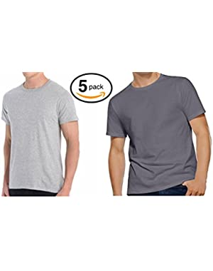 Men's 5-Pack 100% Cotton Crew T-Shirts (Medium, Heather/Charcoal)