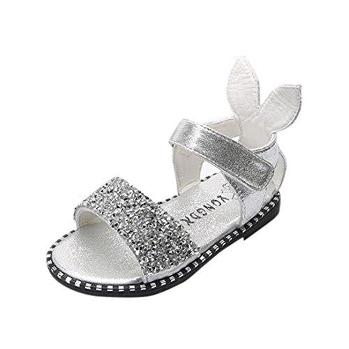 Clode® Kinder Art und Weisebaby Kaninchen Ohr Sequins Sandelholze Mädchen flache Prinzessin Schuhe Silber