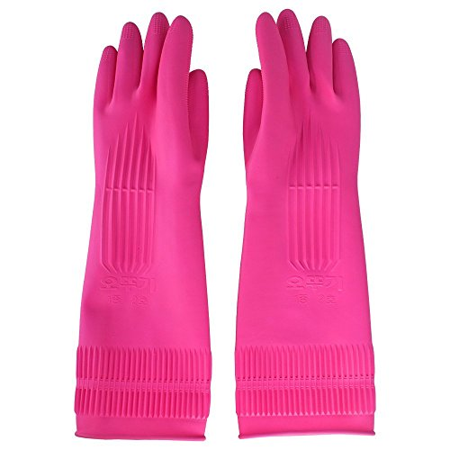 Reusable Latex Rubber Gloves,Netboat Kitchen Cleaning Long Sleeves Dishwashing Waterproof Gloves,3 Pairs