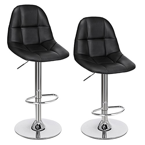 SONGMICS Set of 2 PU Adjustable Swivel Bar Stools with Backrest 16
