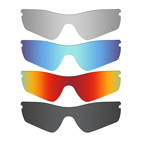 Mryok 4 Pair Polarized Replacement Lenses for Oakley Radar Path Sunglass - Stealth Black/Fire Red/Ice Blue/Silver - Oakley Lenses Red Sunglasses