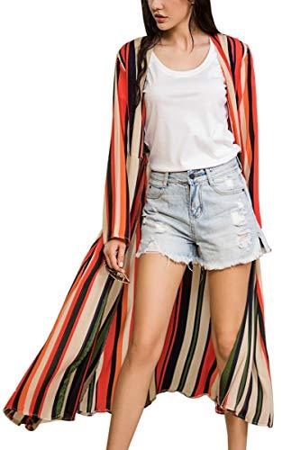 Sheer Spring - Hibluco Women's Floral Kimono Cardigan Sheer Tops Loose Blouse Cover Ups