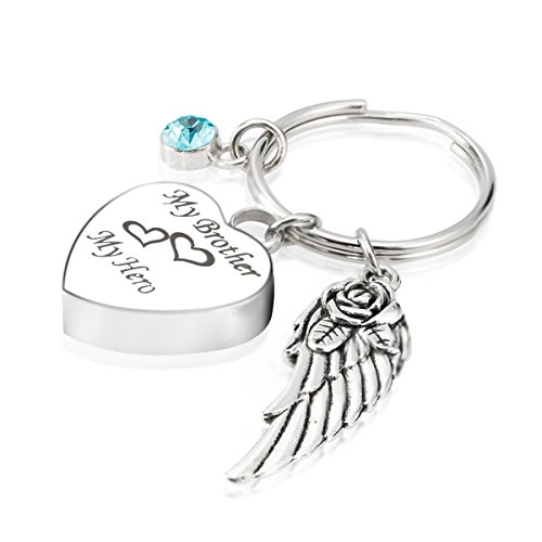 Engraved Personalised My Brother My Hero Cremation Urn Jewelry Keychain Memorial Ash Keepsake December Turquoise Birthstone Angel Wings Charms (Engraved Turquoise Pendant)