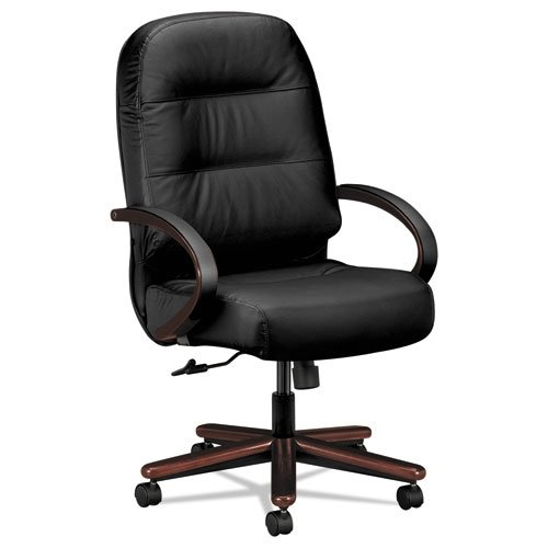 HON Pillow-Soft Leather Executive High-Back Chair - Wood Series Office Chair Arms, Mahogany/Black Leather (H2191) -