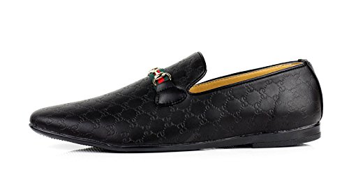 Casual Mocasines Italiano sin Piel Mocasines Negro Hombre JAS Zapatos Sintética para Cordones gxET7