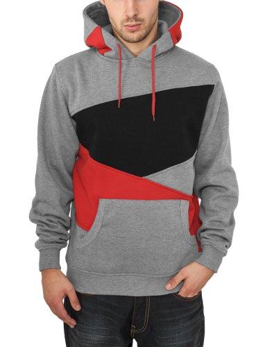 Urban Classics Bekleidung Zig Zag Hoody - Sudadera con capucha para hombre Multicolor (Gry/red/blk)