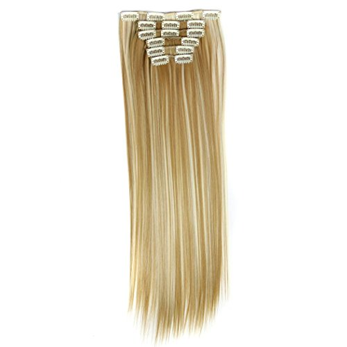 Inkach Womens Hairpiece - 6Pcs Straight Hair Extensions Synthetic Wigs Full Head with 16 Clips in (E)