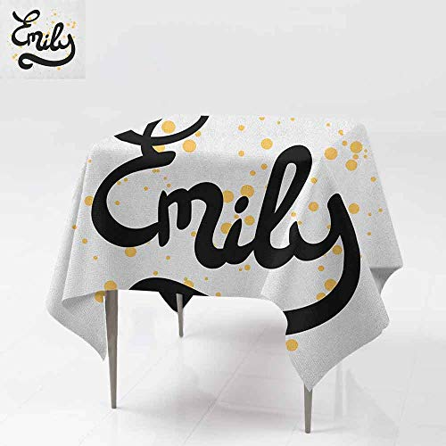(AndyTours Washable Square Tablecloth,Emily,Hand Drawn Monochrome Cursive Font Modern Calligraphic Signature Design,Dinner Picnic Table Cloth Home Decoration,50x50 Inch Mustard Black and White)
