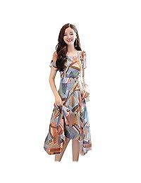 Duevin Vestido Floral con Estampado Irregular de Manga Corta para Mujer de Verano(L)