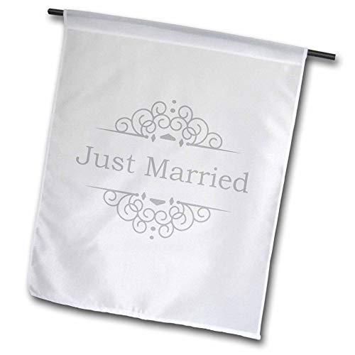 3dRose fl_151589_1 Just Married in Silver with Fancy Swirls Garden Flag, 12 by 18-Inch