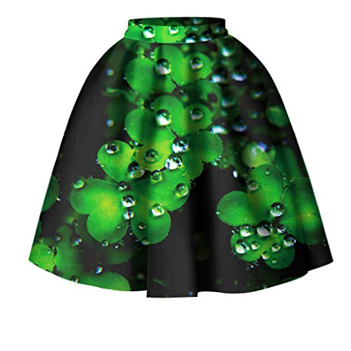 80d0a5d2c2fcb2 best cinnamou Rock, Women's St Patrick's Day Clover Printed Pleated Flared  Midi Skirt,Damenklee