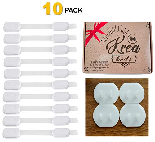 (Krea Baby Safety Cabinets Locks 10 Pack, Baby & Child Proof Drawers, Cabinets, Doors, Oven, Toilet Seat | Multi-Purpose Use | No Drilling | 3M Adhesive Lock | Gift Box | 4 Outlet Plug Covers Included)