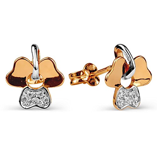 585russe Rose 14ct CZ Boucles d'oreilles à tige en cadeau d'aile d'oreilles
