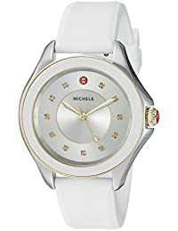 MICHELE Women's 'Cape Topaz' Swiss Quartz Stainless Steel and Silicone Casual Watch, Color:White (Model: MWW27A000024)