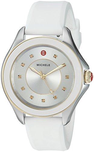 MICHELE Women's Cape Topaz Stainless Steel Swiss-Quartz Watch with Silicone Strap, White, 18 (Model: MWW27A000024