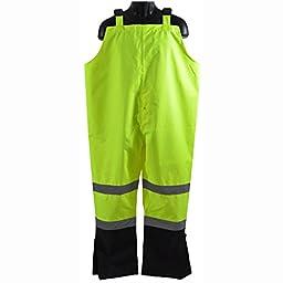 Petra Roc LBBIP-CE-2X Bib Rain Pants ANSI Class E Two Tone Lime/Black 300D Oxford PU Coating Waterproof, 2X