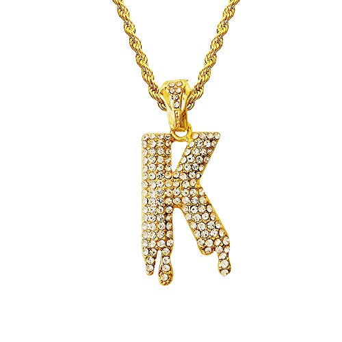 (HH Bling Empire Hip Hop Iced Out Bling Crystal Bubble Dripping Initials A to Z Rope Chain 20 Inch (Dripping K) )