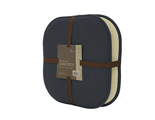 GoodGram Non Slip Ultra Comfort Memory Foam Chair Pads – Assorted Colors (Charcoal), 2 Pack