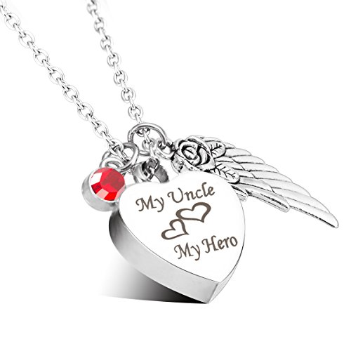 Cremation Urn Jewelry My Uncle My Hero Angel Wings July Ruby Birthstone Charms Memorial Ash Keepsake Necklace