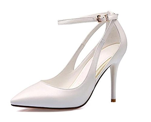 Party Dress chaussures tribunal bouche superficielle creuse boucle d'un mot sandales ultra-à talons hauts , milky white , 37