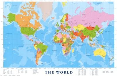 Cartina Geografica Mondo Poster.Poster Carta Geografica Del Mondo Dimensione 91 X 61 Cm Amazon It Casa E Cucina