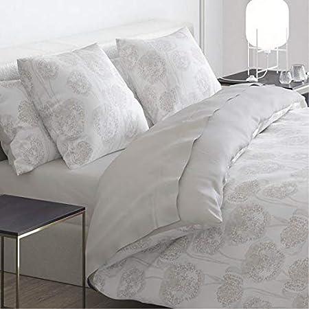 Cacharel – Funda nórdica 100% satén de algodón + 2 fundas – Reversible y fácil de planchar, Lace Taupe, 260 x 240 cm: Amazon.es: Hogar