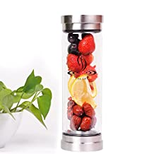 Shangyi Glass Tea Tumbler Tea Infuser Bottle Fruit Infusion Double Wall Heat Resistance with Stainless Steel Strainer Tea Cup Filter for Outdoor Travel Office Hot&Cold Water Drink 14 Ounces