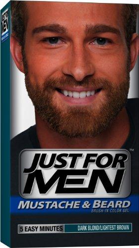 Just For Men moustache et la barbe, Brush-In Gel de couleur, noir / Brown léger, 1 Kit, (pack de 3)