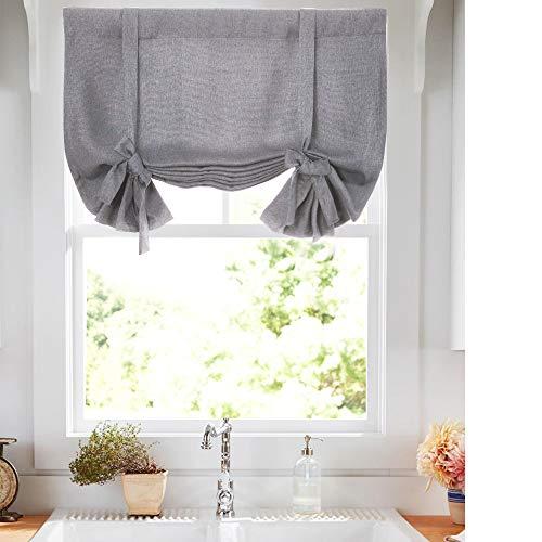 (Tie Up Valances for Kitchen Windows Vintage Linen Look Room Darkening Tie up Valance Curtains Rod Pocket Adjustable Tie Up Shades for Windows 1 Panel Grey 54 Inch)