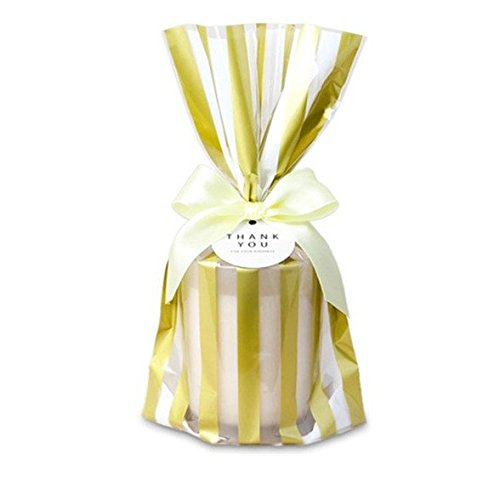 Gourmet Favor (Astra Gourmet 50 ct. Plastic Cookie Bags, Party Favor Bag, Treat Bag with Gold Polka Dots for for Chocolate,Candy,Snack Wrapping)