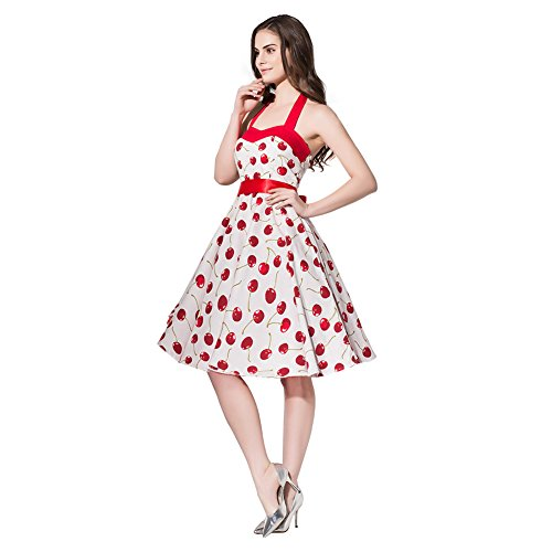 FiftiesChic Colored Halter 100% Cotton 50s Vintage Rockabilly Swing Dress (Large, White Cherry)