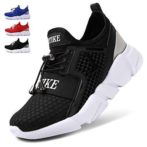 WETIKE Girls Sneakers Kids High Top Athletic Gym Shoes Lightweight Comfortable Tennis Shoes Slip on No Laces Trainers Shoes Soft Knit Youth Shoes Big Little Kids Size Black Size 6