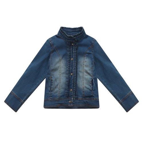 Richie House Little Girls' Faded Denim Jacket with Pleated Collar RH0822-3/4 (Pleated Denim Jacket)