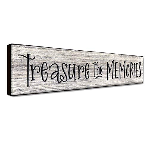 LACOFFIO Treasure The Memories 16 x 3.5 Inches Inspirational Quotes Rustic Wall Art Decor Plaque Motivational Home Wall Hanging Signs Great - Housewarming Gift Idea ()