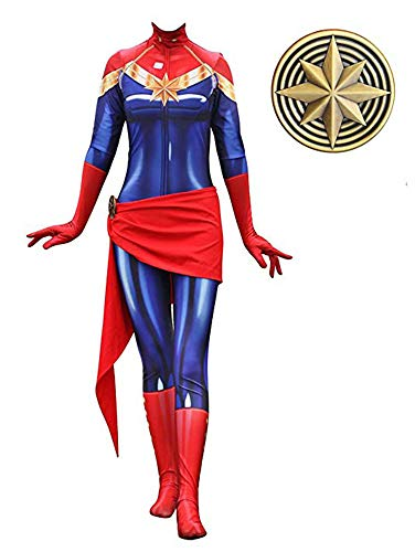 Red Dot Boutique 502 - Lady Captain Spandex Bodysuit Zentai Cosplay Halloween Costume (4) XL (Height 5'4