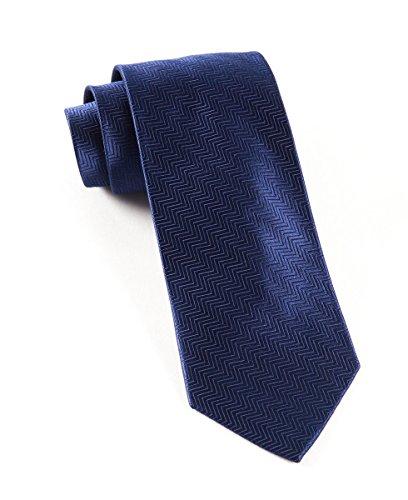 The Tie Bar 100% Woven Silk Solid Herringbone Navy Tie