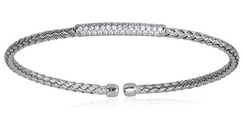 Silver Weave Bracelet (SilverLuxe Sterling Silver Weave Cuff Bracelet with CZ Bar- Rhodium)