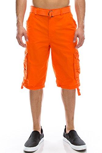Mens Hipster Hip Hop Belted Premium Washed Orange Cargo Shorts 54