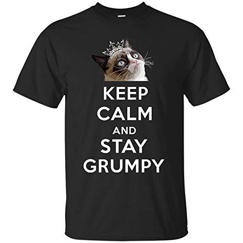 Grumpy Cat Keep Calm and Stay Grumpy Poster Graphic T-Shirt (Unisex T-Shirt;Black;6XL)
