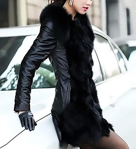 Slim De Chaqueta Parkas Elegantes Fashion Grande Larga Abrigos Battercake Mujeres Talla Manga Piel Negro Invierno Falsa Espesar Fit Caliente Mujer Outerwear Casuales qwHWXFU