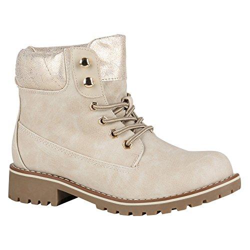 Stiefelparadies Damen Herren Unisex Warm Gefütterte Stiefeletten Outdoor Worker Boots Profilsohle Winterschuhe Camouflage Schuhe Übergrößen Flandell Creme Metallic