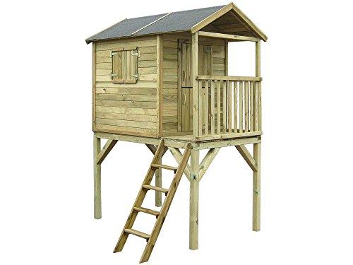 dein-spielplatz® Stelzenhaus FIN - 117 x 187 cm - Spielhaus Baumhaus mit Podest aus Holz für Kinder - TÜV Nord