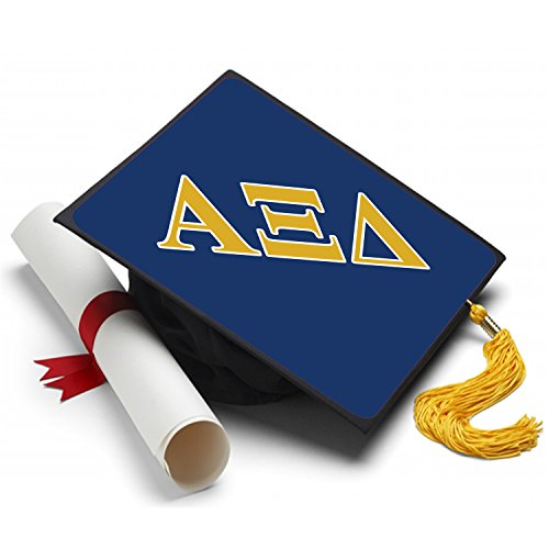 Alpha Xi Delta Sorority Graduation Cap Hat Topper Decoration 8.5 x 8.5 Inch Alpha Zee