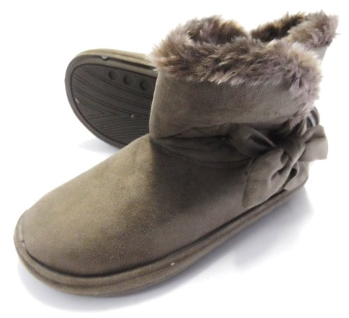 FUR LINED WOMENS SLIPPERS BOOTS FAUX SUEDE SOFT WINTER LADIES BOOTIES SIZES 3 -8 Brown KUybZ6St