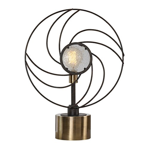 My Swanky Home Retro Industrial Fan Shaped Table Lamp | Round Mid Century Swirl Black ()